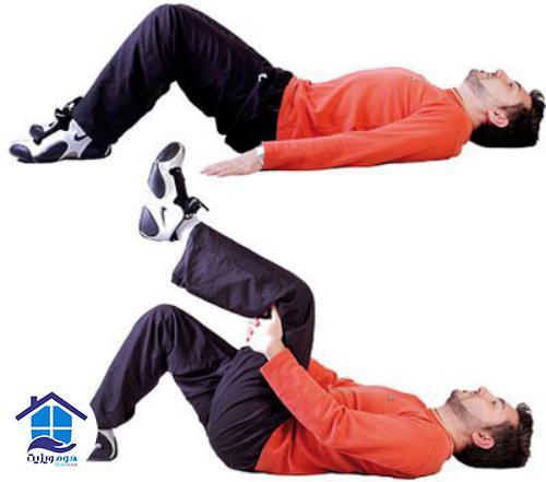 تمرین درمانی کمردرد طاقباز خوابیده و زانوها را خم